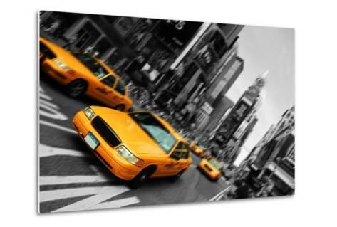 New York City Taxi, Blur Focus Motion, times Square-upthebanner-Metal Print