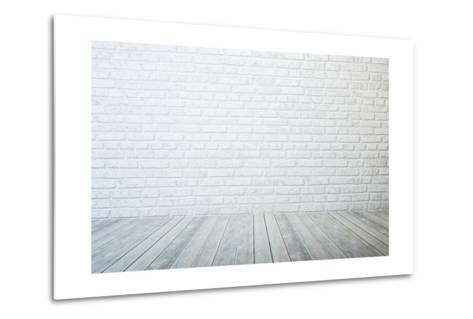 Empty Room with White Brick Wall and Wooden Floor-auris-Metal Print