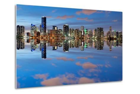 Miami Skyline Seen from Key Biscayne at Dusk with Beautiful Reflections-badboo-Metal Print