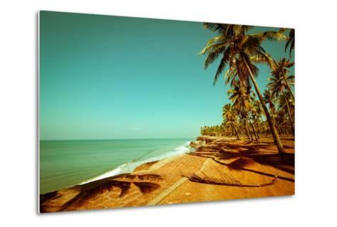 Beautiful Sunny Day at Tropical Beach with Palm Trees, Ocean Landscape in Vintage Style, India-Im Perfect Lazybones-Metal Print