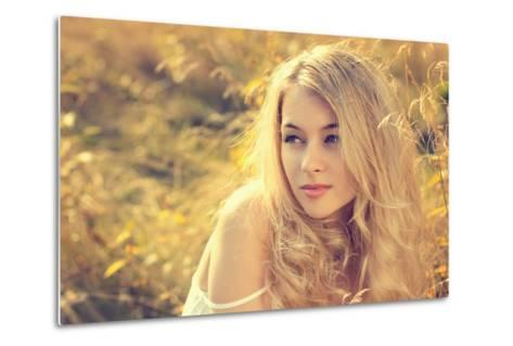 Portrait of Blonde Woman on Nature Background-brickrena-Metal Print