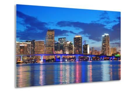 Miami City Skyline Panorama at Dusk with Urban Skyscrapers and Bridge over Sea with Reflection-Songquan Deng-Metal Print