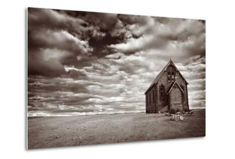 Abandoned Church in the Desert, with Stormy Skies-Robyn Mackenzie-Metal Print