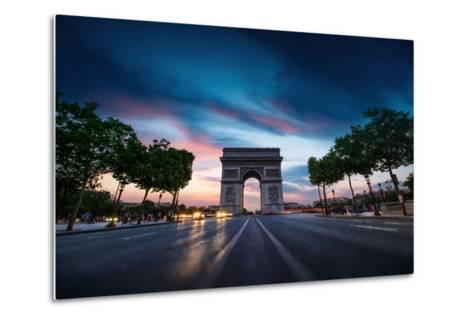 Arc De Triomphe Paris City at Sunset-dellm60-Metal Print