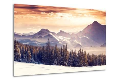 Fantastic Evening Winter Landscape-Leonid Tit-Metal Print