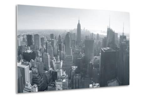 New York City Skyline Black and White in Midtown Manhattan Aerial Panorama View in the Day.-Songquan Deng-Metal Print