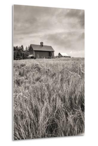 B&W of Farm Field and Barn.-gjphotography-Metal Print
