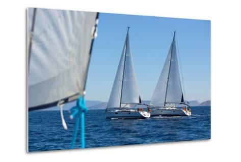 Sailing Ship Yachts with White Sails in a Row.-De Visu-Metal Print