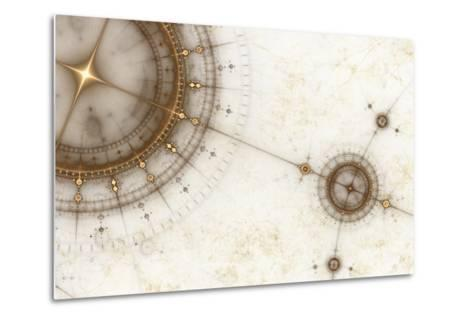 Ancient Nautical Chart, Grunge-Artida-Metal Print