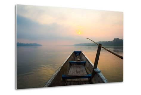 Morning of the Lake with  the Boat-jannoon028-Metal Print