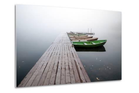 Autumn. Small Pier with Boats on Lake in Cold Still Foggy Morning-Eugene Sergeev-Metal Print