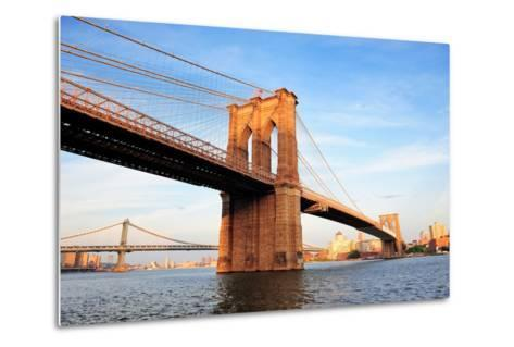 Brooklyn Bridge over East River Viewed from New York City Lower Manhattan Waterfront at Sunset.-Songquan Deng-Metal Print
