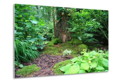 Little Fairy Tale Door in a Tree Trunk.-Hannamariah-Metal Print
