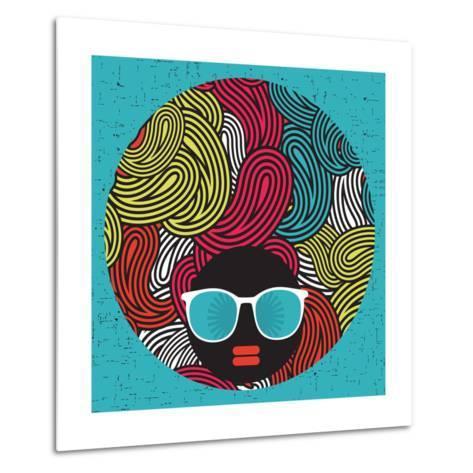 Black Head Woman With Strange Pattern Hair-panova-Metal Print