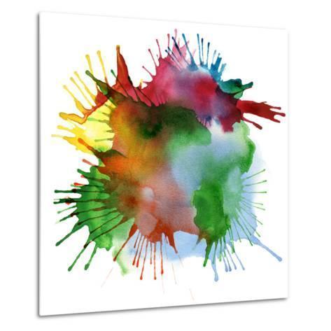 Abstract Color Watercolor Blot Background-Rudchenko Liliia-Metal Print