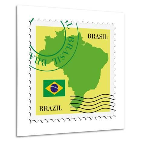 Stamp With Map And Flag Of Brazil-Perysty-Metal Print