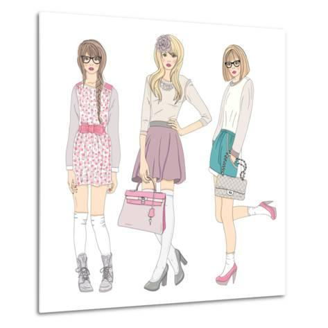 Young Fashion Girls Illustration. With Teen Females-cherry blossom girl-Metal Print