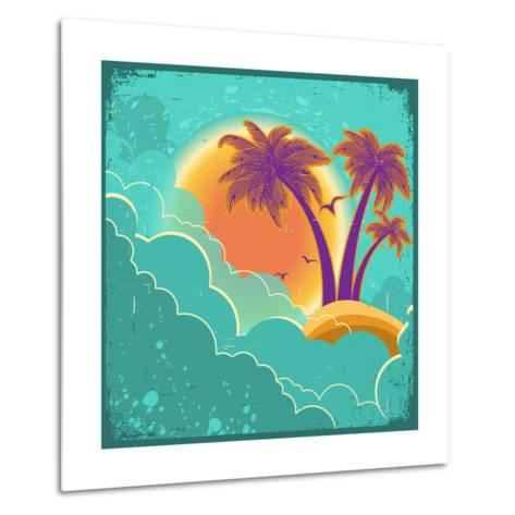 Vintage Tropical Island Background With Sun And Dark Clouds On Old Paper Poster-GeraKTV-Metal Print