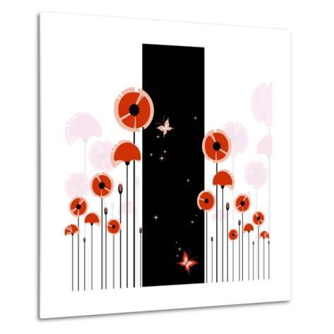 Abstract Red Poppy On Black And White Background-meikis-Metal Print