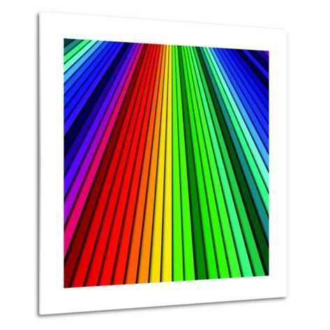 Abstract Color Background Spectrum Lines-Lukas Kurka-Metal Print
