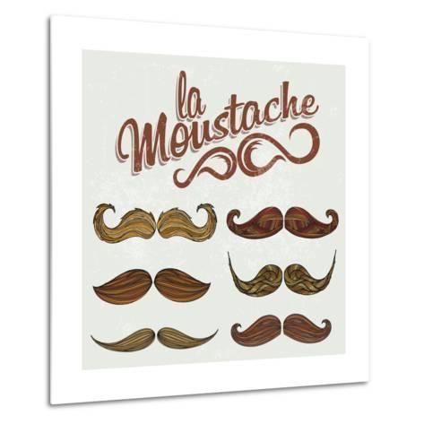 Hand Drawn Brown Mustache Set-Melindula-Metal Print