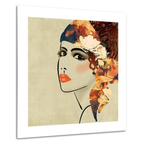 Art Colorful Sketching Beautiful Girl Face On Sepia Background, In Art Deco Style-Irina QQQ-Metal Print