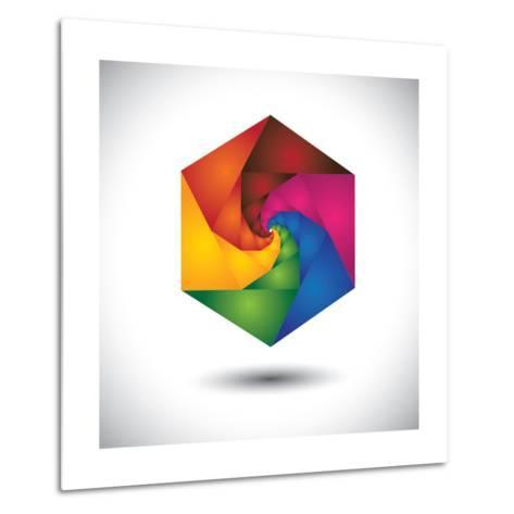 Abstract Colorful Hexagon With Infinite Spiral Steps-smarnad-Metal Print