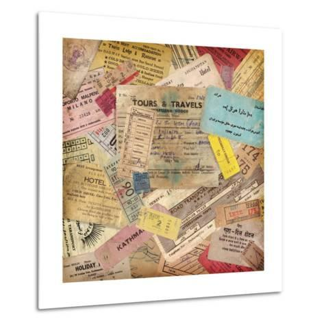 Vintage Travel Background Made Of Lots Of Old Tickets-shootandwin-Metal Print