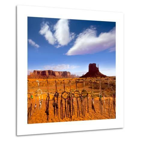 Dreamcatcher Monument West Mitten Butte Morning With Navajo Indian Crafts Utah-holbox-Metal Print