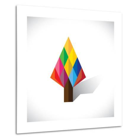 Colorful Abstract Tree Icon(Sign) Made Of Diamond Shapes-smarnad-Metal Print