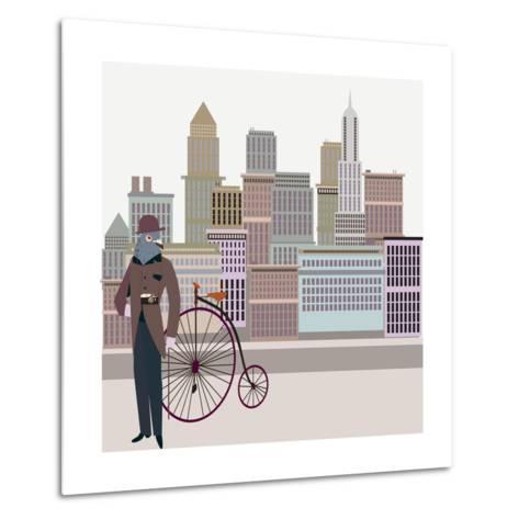 Retro New York Illustration - Vintage Bird On A Bike-run4it-Metal Print