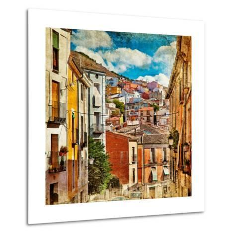 Colorful Spain - Streets And Buildings Of Cuenca Town - Artistic Picture-Maugli-l-Metal Print