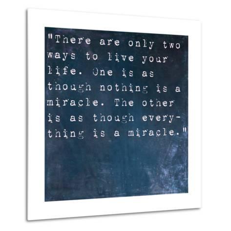 Inspirational Quote By Albert Einstein On Earthy Blue Background-nagib-Metal Print