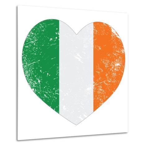 Ireland Heart Retro Flag - St Patricks Day-RedKoala-Metal Print