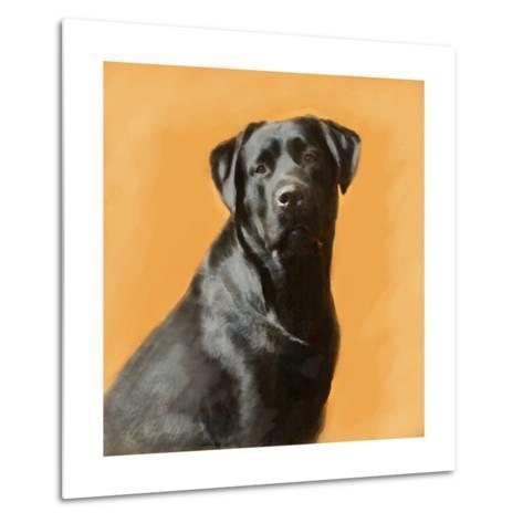 Oil Painting Portrait Of Black Labrador Male-Yarvet-Metal Print