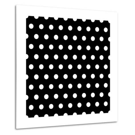 Black And White Dots Background- poofy-Metal Print