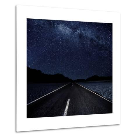 Highway And Starry Night In Desert--Metal Print