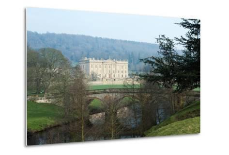 Chatsworth House from the West over the River Derwent, Derbyshire--Metal Print