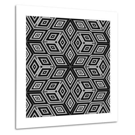 Black And White 3D Cubes Illustration - Escher Style-Kamira-Metal Print