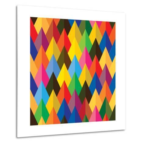 Seamless Abstract Colorful Of Cones Or Triangle Shapes-smarnad-Metal Print
