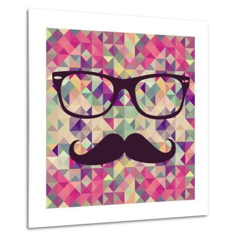 Geometric Hipster Face-cienpies-Metal Print