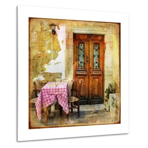 Pictorial Old Greek Streets With Tavernas - Retro Styled Picture-Maugli-l-Metal Print