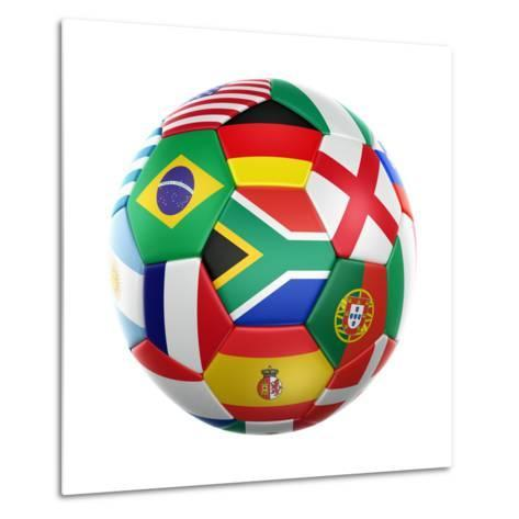 3D Rendering Of A Soccer Ball With Flags Of The Participating Countries In World Cup 2010-zentilia-Metal Print