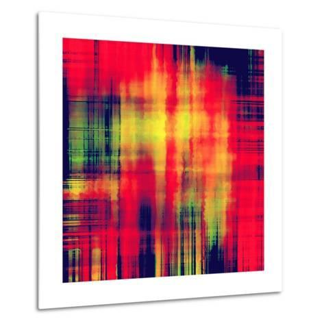 Art Abstract Geometric Pattern, Background In Bright Red , Gold And Green Colors-Irina QQQ-Metal Print