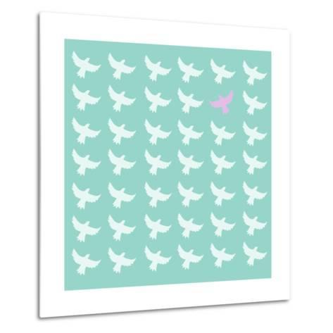 Pink Bird Differrent From The Other-Sira Anamwong-Metal Print