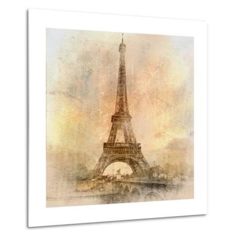 Retro Styled Background - Eiffel Tower-Maugli-l-Metal Print