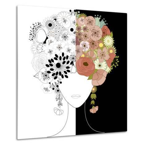 Woman Floral Silhouette-Rouz-Metal Print