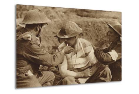 Wounded But Not Too Ill for a Smoke, World War I--Metal Print