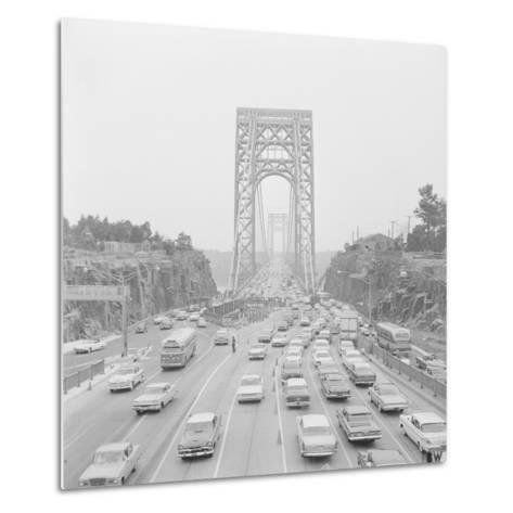 Traffic on George Washington Bridge-Bob Wendlinger-Metal Print