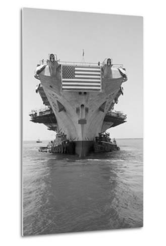 Tugboats Pushing the Aircraft Carrier John F. Kennedy--Metal Print